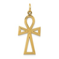 14k gold	Egyptian Ankh	cross pendant measures 916w x 1 38h weighs 15 g