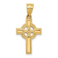 14k gold celtic cross pendant with eternity circle studded design measures 12w x 1 116h