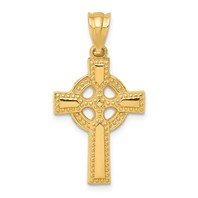 14k gold celtic cross pendant with eternity circle studded design measures 58w x 1 18h