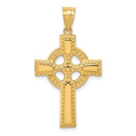 14k gold celtic cross pendant with eternity circle studded design measures 34w x 1 516h