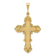 BEAUTIFUL 14k gold fleur de lis cross pendant  weighs 332g