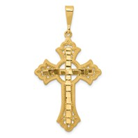 14k gold celtic diamond cut cross pendant with eternity circle cut out measures 1516w x 1