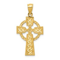 14k gold celtic cross pendant textured with diamond cut X pattern and eternity circle measures 5/8w x 1 1/4h weighs 2.68g