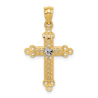 14k gold cross pendant with wave details weighs 05g
