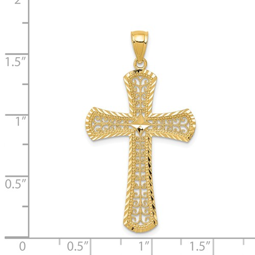 14k gold filigree cross pendant diamond cut measures 1516w x 1 1116h weighs 146g