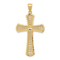 14k gold filigree cross pendant diamond cut measures 15/16w x 1 11/16h weighs 1.46g