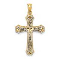 14k gold filigree hearts cross pendant two tone