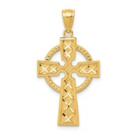 14k gold celtic cross pendant textured with diamond cut X pattern and eternity circle measures 11/16w x 1 1/4h weighs 1.69g