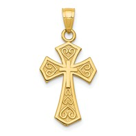 14k gold passion cross pendant God Loves measures 12w x 1h weighs 09g