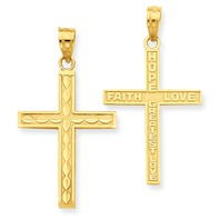 14k gold reversible cross pendant textured with rhodium measures 1116w x 1 14h weighs 0