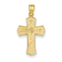 STUNNING 14k gold passion cross pendant Ecce Homo Cross Jesus Christ face thorn crown we