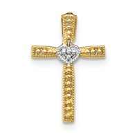 14k gold cross pendant with rhodium