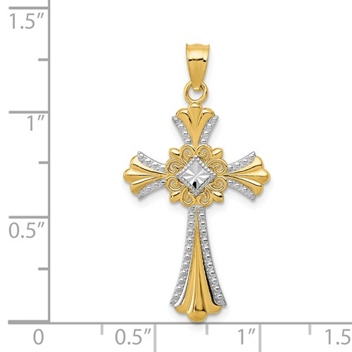14k gold celtic cross pendant polished with rhodium bead edge measures 58w x 1 14h weigh