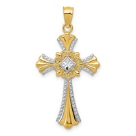 14k gold celtic cross pendant polished with rhodium bead edge measures 5/8w x 1 1/4h weighs 1.03g