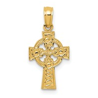 14k gold celtic cross pendant with eternity circle measures 3/8w x 3/4h weighs 0.59g