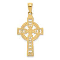 14k gold celtic cut out cross pendant textured with diamond cut X pattern and eternity cir