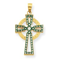 14k gold green and white enameled celtic cross pendant diamont cut with cut outs measures