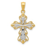 14k gold cross pendant diamond cut weighs 1.06g