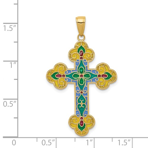 14k gold cross pendant colored with translucent acrylic weighs 25g