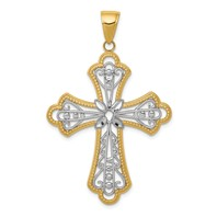 14k gold filigree cross pendant diamond cut weighs 291g