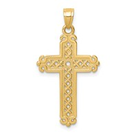 14k gold cross pendant textured criss cross design and high polish edges measures 11/16w x 1 1/4h weighs 1.09g