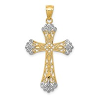 14k gold budded cross pendant diamond cut rhodium accents weighs 1.07g