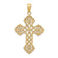 14k gold lacey budded cross pendant pendant weighs 247g