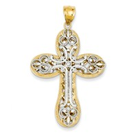 STUNNING 14k gold diamond cut layered cross pendant has a beautiful depth to the layers measures 1 3/16w x 2h weighs 5.35g