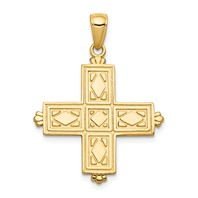 14k gold square cross pendant etched with crown tips polished reversible measures 78w x