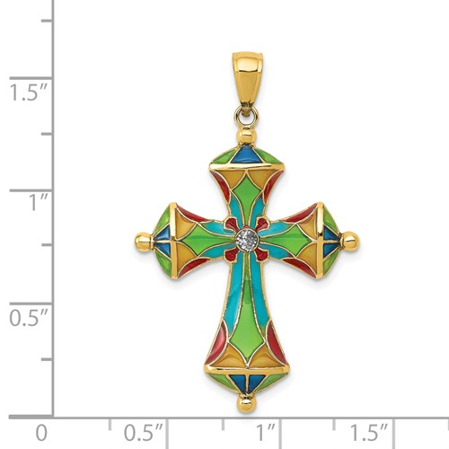 14k gold passion cross pendant translucent acrylic weighs 159g