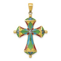 14k gold passion cross pendant translucent acrylic weighs 1.59g