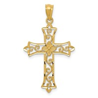14k gold flower cross pendant with vine open weighs 085g