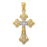 14k gold cross pendant diamond cut with rhodium weighs 0.86g