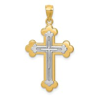 14k gold cross pendant layered two tone weighs 1.44g