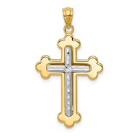 14k gold cross pendant two tone weighs 1.32g