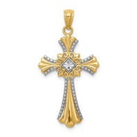 14k gold cross pendant diamond cut with rhodium weighs 1.08g