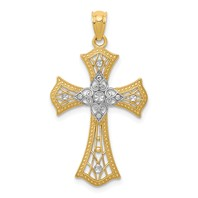 14k gold cross pendant cut out