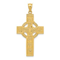 14k gold celtic cross pendant measures 78w x 1 34h weighs 314g