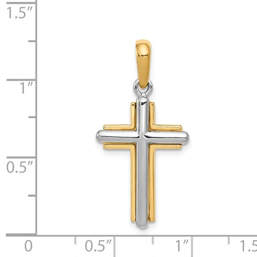 14k gold two tone cross pendant high polish measures 58 x 1 316h weighs 25g