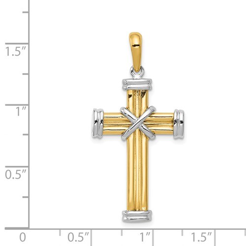 14k gold two tone cross pendant with X detail in center measures 1316w x 1 916h weighs 4