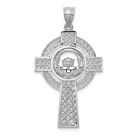 14k white gold CELTIC claddagh cross pendant with STUNNING woven pattern measures 78w x 1