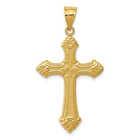 14k gold cross pendant solid beaded edges weighs 144g