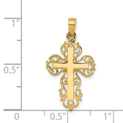 14k gold filigree scroll cross pendant cut out weighs 078g
