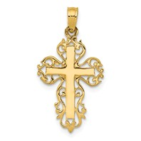14k gold filigree scroll cross pendant cut out weighs 0.78g