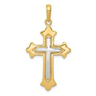14k gold two tone cross pendant with white gold cross in center weighs 3.64g