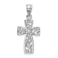 14k white gold filigree cross pendant measures 1/2w x 1 1/8h weighs 1.1g