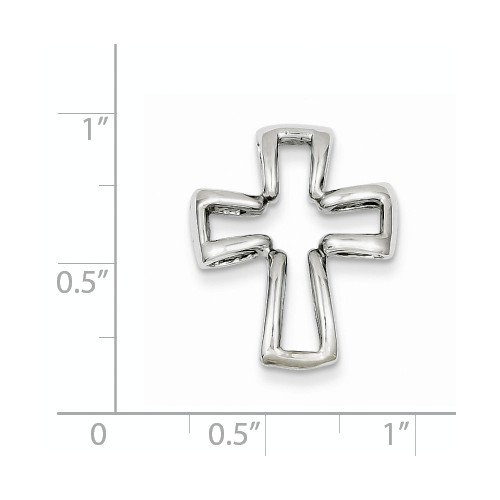 14k white gold high polish cross pendant chain slide measures 58w x 34h weighs 24g