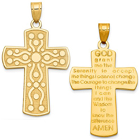 14k gold serenity prayer cross pendant reversible measures 1516w x 1 12h weighs 34g