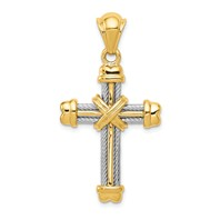 14k gold two tone cross pendant with cable detail