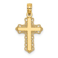 14k gold tiny budded cross pendant measures 716w x 7h weighs 057g